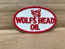 "VINTAGE ORIGINAL 1950/60'S EMBROIDERED WOLFS HEAD OIL JACKET PATCH 3.5"" X 2"""