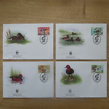 LOT TIMBRES 4 FDC WWF ANIMAUX CANARDS AZERBAIDJAN/ WWF STAMPS FDC ANIMALS BIRDS