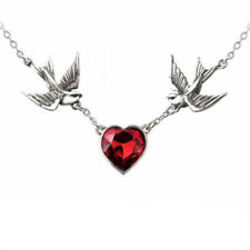 SWALLOW HEART ALCHEMY NECKLACE Red Swarovski Heart Birds Gothic Pendant + POUCH