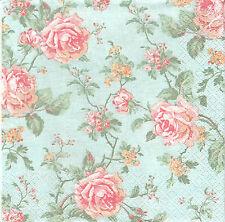 2 Serviettes papier Roses anglaises Decoupage Paper Napkins English Style