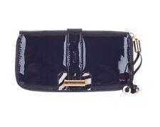 bdd715abf2 Jimmy Choo Women's Navy Blue Patent Leather Logo Zip Around Clutch