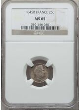 FRANCE - Louis Philippe 1845-B Silver 25 Centimes NGC MS65, Rouen Mint, Toning !
