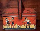 Antique Vintage Primitive Ohio Art Signed Tin Metal Lunch Pail Box Handle AAFA