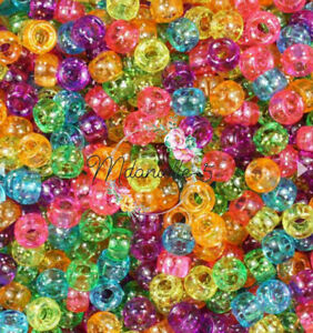 3 For 2 100x JELLY MIX 9X6mm PONY BEADS IDEAL FOR CRAFT
