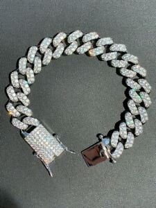 Men's Real Miami Cuban Bracelet White Gold Over Stainless Steel 15mm Iced Silver