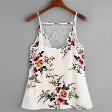 Women Lace Vest Neck Top Sleeveless Casual Tank Blouse Beach Tops T-Shirt S