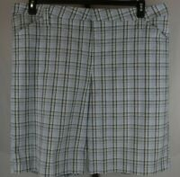 Lee One True Fit Womens Blue Plaid Flat Front Bermuda Shorts Size 24W