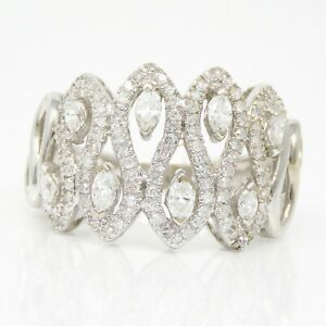 NYJEWEL 14k White Gold 1.5ctw Diamond 15mm Wide Ring