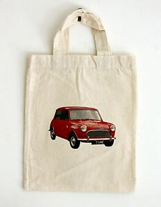 Small Cotton Bag of Classic Austin Seven Mini Car Motif for Party or Gift Bags