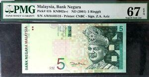 PMG 67 EPQ GEM MALAYSIA 5 Ringgit Bank Negara B/Note(+FREE1 note)#15986