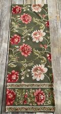 Painted Floral Block Print Table Runner Green Pink Colorfully Cotton Blend
