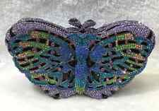 Blue ~Purple~ Multi-Color Butterfly Shaped Handmade Austrian Crystal Evening Bag
