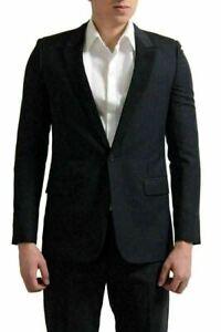 Saint Laurent Men's Charcoal Wool Mohair Tuxedo Sport Coat Blazer US 38 IT 48