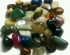 60-90 colorful Mixed Natural Assorted bulk tumbled Gem stone mix 1/2lb