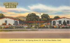 CLIFTON MOTEL Spring Street Paso Robles, CA Highway 101 Roadside c1940s Postcard