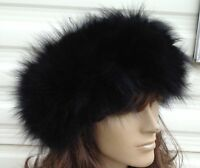 black real genuine fox fur pelt head ear warmer headband unisex hat ski outdoor