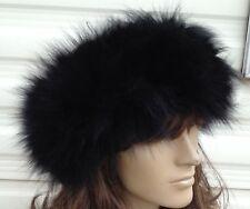Black Real Genuine fox fur pelt tête oreille Warmer Bandeau Unisexe Chapeau outdoor