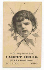 TOLEDO OHIO CARPET HOUSE TRADE CARD SAD CHILD TC1160