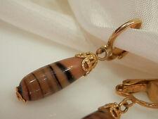 Very Pretty Vintage 1950s Art Glass Swirl Dangle Earrings 2355d