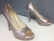 VERA WANG LAVENDER Pink Glitter Super High Heel Platform Sandal Pump Sz 6 B4822