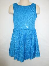 Turquoise Peacock Blue Sequin Tap MT Jazz Dress Dance Costume Small Child SC