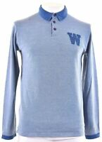 WRANGLER Mens Polo Shirt Long Sleeve Medium Blue Cotton Regular Fit  T028