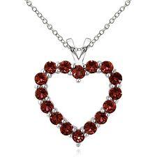 925 Sterling Silver 2ct TGW Garnet Open Heart Necklace