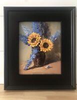 """Karentanart Stilllife Oil  Painting  -8"""" X 10"""" - Sunflowers N Delphini"""