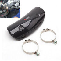 Motorcycle Exhaust Pipe Heat Shield W/ Stainless Steel Clamps Carbon Fiber Look