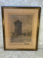 Rockford Water Tower Stipple Engraving by Robert Shaw 1902 w/ Remarque
