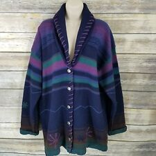 Vtg Size L Blanket Sweater Coat Cardigan Blue Purple Snowflake Striped Wool