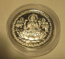 Diwali Lakshmi 10 Gram Silver Coin W/Shree Praying India Hindu God New Year
