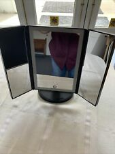 KedsumLighted Mirror w/ Magnifying Portable Vanity Makeup Compact Trifold Dimmer