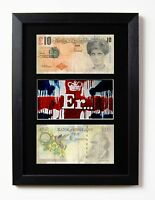 TWO FRAMED & MOUNTED BANKSY DI FACED TENNERS & ER... UNION JACK  PRINT £10
