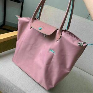 New Longchamp Le Pliage 1899 Nylon Tote Bag Horse Embroidery Handbag Size L Pink