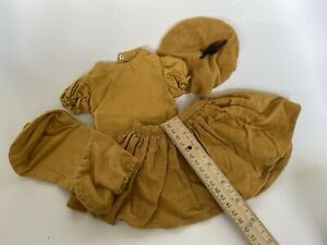 Vintage Mustard Corduroy 4 pc. Skirt/Hat Outfit for Large 1950s Doll