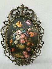 Vintage Italian Made in Italy brass ornate oval frame silk floral still life