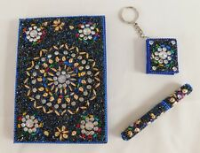 Handcrafted Royal Blue & Multi Beaded Journal / Diary with Pen & Keychain