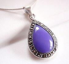 Blue Lapis Marcasite Necklace 925 Sterling Silver Corona Sun Jewelry