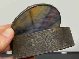 Antique Multi-Color Slag Glass & Metal Art Nouveau Trinket Box