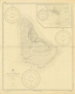 Island of Barbados. Carlisle Bay. US Navy sea chart 1887 (1920) old map
