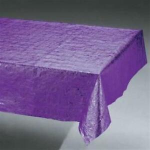 "Purple Metallic Banquet Tablecloth Plastic 54"" x 108"" Tableware Decorations"