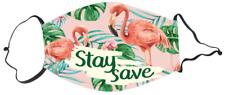 Mund-Nase-Maske Flamingo Stay Save Aufdruck 11 cm x 16 cm