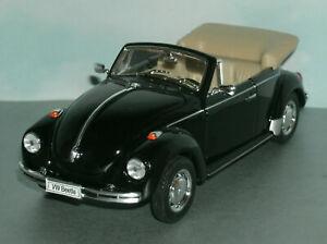 1/24 Scale Volkswagen Beetle Open Top Diecast Car Type 1 Bug - Welly 22091 Black