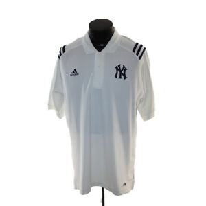 New York Yankees shirt golf polo adult Medium White Adidas climacool