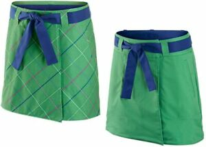 NIKE GOLF CONVERTIBLE Skort 10 Skirt Shorts L Dri Fit Swoosh Green Plaid NWT
