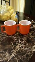 Two (2) Vintage Fire King Orange Coffee Mugs Milk Glass Anchor Hocking