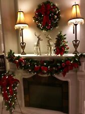 4 Piece Decor Set (Garland, Wreath and Trees) Pre-Lit with Timer