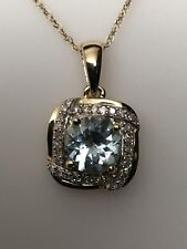 10K Yellow Gold Round Aquamarine and Diamond Pendant with Chain 0.10ct twt New