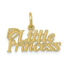 10k Yellow Gold Little Princess with Crown Pendant. (0.5INx0.8IN)